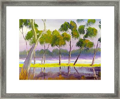 Framed Print featuring the painting Marshlands Murray River Red River Gums by Pamela  Meredith