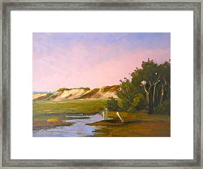 Marshlands Plymouth Landing Framed Print by Betty Ann Morris