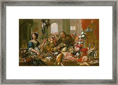Martha And Mary Framed Print by Frans Ykens