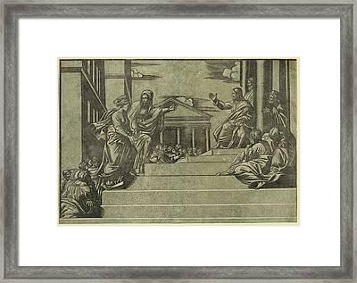 Martha And Mary Magdalene Before Christ, Martha Presenting Framed Print