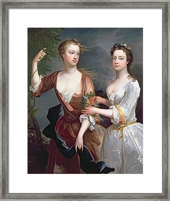 Martha And Teresa Blount, 1716 Oil On Canvas Framed Print by Charles Jervas