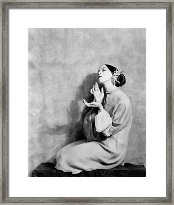 Martha Graham Kneeling Framed Print by Nicholas Muray
