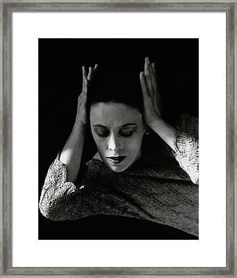 Martha Graham Wearing A Crocheted Dress Framed Print by Imogen Cunningham