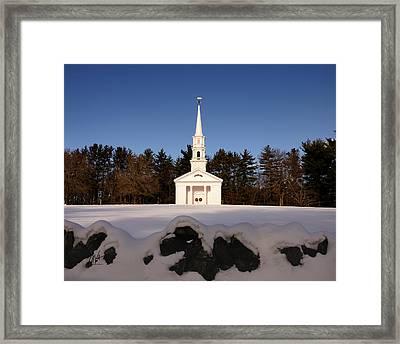 Martha-mary Chapel Snowy Wall Framed Print by Mark Valentine