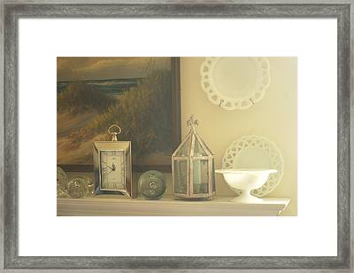 Martha's Fireplace Mantle Framed Print by Suzanne Powers