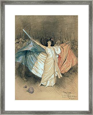 Marthe Chenal Singing La Marseillaise Framed Print by Georges Bertin Scott