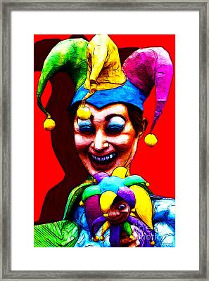 Marti Gras Carnival Clown 20130129v1 Framed Print by Wingsdomain Art and Photography