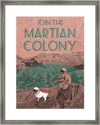 Martian Colony Mars Travel Advertisement Framed Print by