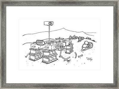 Martians Are Stealing The Tires On A Martian Framed Print by Trevor Hoey