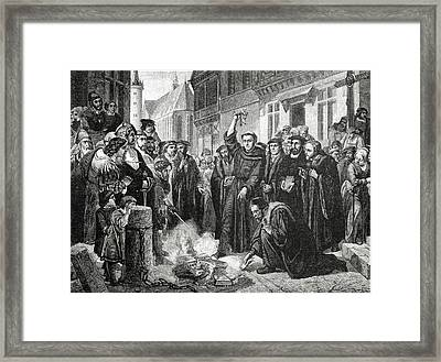 Martin Luther 1483 1546 Publicly Burning The Pope's Bull In 1521  Framed Print by English School