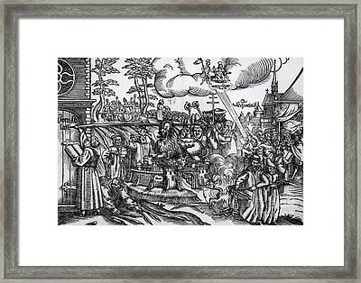 Martin Luther 1483 1546 Writing On The Church Door At Wittenberg In 1517 Framed Print by German School