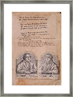 Martin Luther And J. Bugenhagius Framed Print