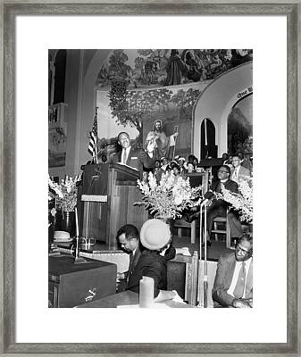 Martin Luther King Jnr 1929 1968 American Black Civil Rights Campaigner In The Pulpit Framed Print by James Earl Ray