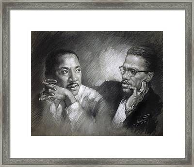 Martin Luther King Jr And Malcolm X Framed Print by Ylli Haruni