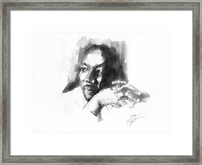 Martin Luther King Jr Framed Print by  Gerald Piggott