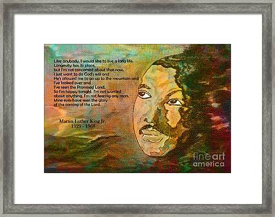 Martin Luther King Jr - I Have Been To The Mountaintop  Framed Print by Ella Kaye Dickey