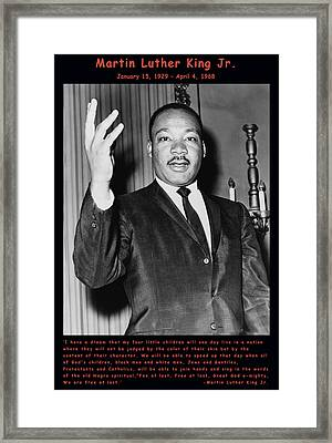 Martin Luther King Jr Framed Print by Official Government Photograph