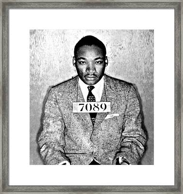Martin Luther King Mugshot Framed Print by Bill Cannon