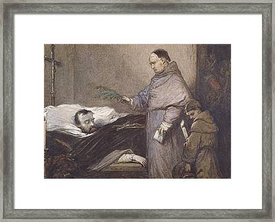 Martin Rithone Blessing The Body Of The Count Of Egmont Wc On Paper Framed Print by Louis Gallait