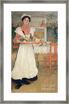 Martina Carrying Breakfast On A Tray Framed Print