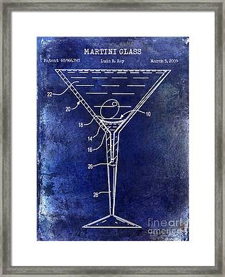Martini Glass Patent Drawing Blue Framed Print by Jon Neidert