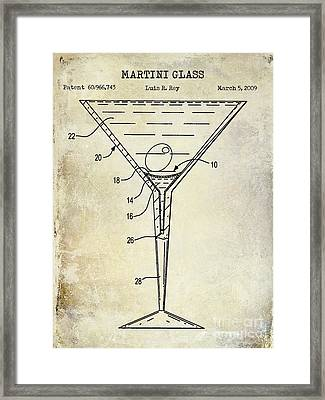 Martini Glass Patent Drawing Framed Print by Jon Neidert