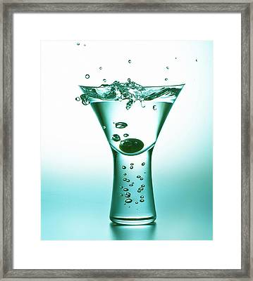 Martini With Olive Splash Framed Print