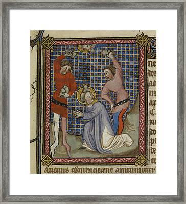 Martyrdom Of Saint Stephen Framed Print by British Library