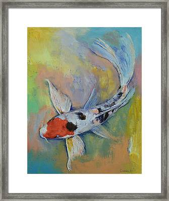 Maruten Butterfly Koi Framed Print by Michael Creese