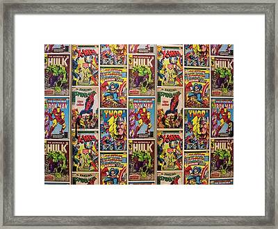 Marvel Comics Heroes Framed Print by Ken Welsh