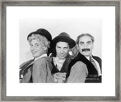 Marx Brothers - A Night At The Opera - Groucho Harpo And Chico Marx Framed Print by MMG Archive Prints