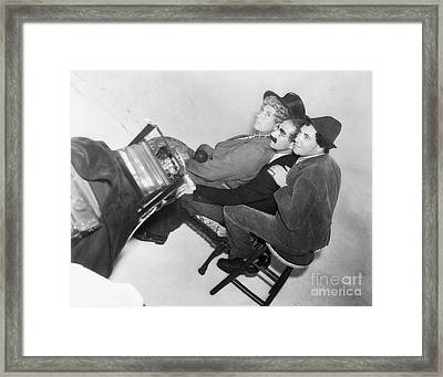 Marx Brothers - Groucho Harpo And Chico Marx - Behind The Scenes Framed Print by MMG Archive Prints