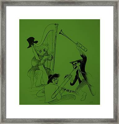 Marx Brothers Olive Green Framed Print by Rob Hans
