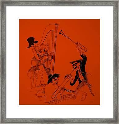 Marx Brothers Orange Framed Print by Rob Hans