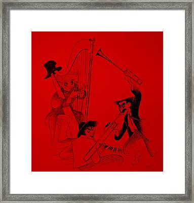Marx Brothers Red Framed Print by Rob Hans
