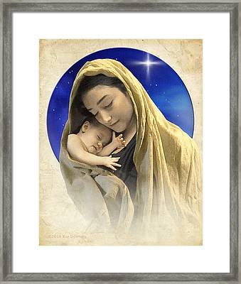 Mary And Jesus Blue 2 Framed Print