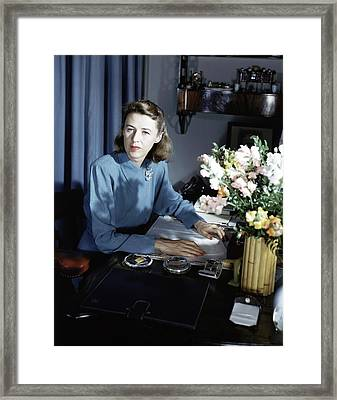 Mary Cushing At Her Desk Framed Print