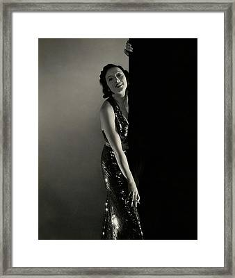Mary Duncan Wearing A Sequin Dress Framed Print by Edward Steichen