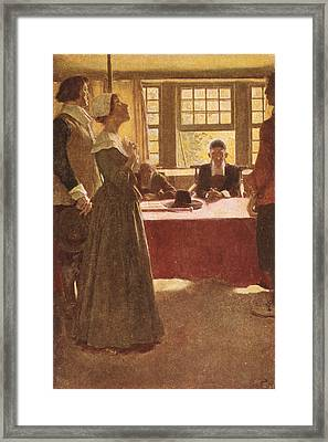 Mary Dyer Brought Before Governor Endicott, Illustration From The Hanging Of Mary Dyer By Basil Framed Print