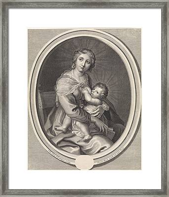 Mary Gives The Christ Child Breast Feeding Framed Print by Pieter Van Schuppen And Stella And Hermann Weyen