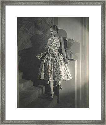 Mary Guina Wearing A Louiseboulanger Dress Framed Print