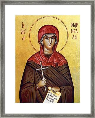 Mary In Brown  Framed Print by Munir Alawi