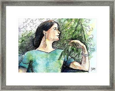 Mary In The Garden Framed Print by Mary Fanning