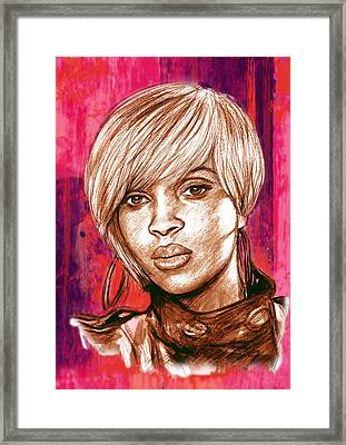 Mary J. Blige Stylised Pop Art Drawing Potrait Poser Framed Print