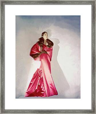Mary Jane Russell Wearing A Pink Satin Gown Framed Print by Horst P. Horst