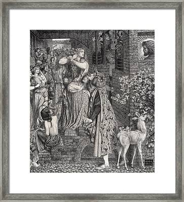 Mary Magdalene At The Door Of Simon Framed Print by Dante Gabriel Charles Rossetti