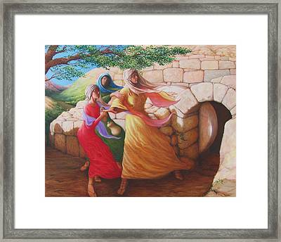 Mary Magdalene Discovering The Empty Tomb Framed Print