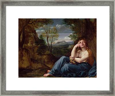 Mary Magdalene In A Landscape, C.1599 Framed Print by Annibale Carracci