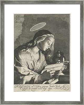 Mary Magdalene Reading, Cornelis Bloemaert II Framed Print