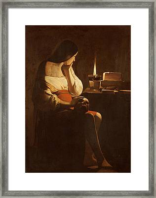 Mary Magdalene With A Night Light, C.1640-35 Oil On Canvas Framed Print by Georges de la Tour